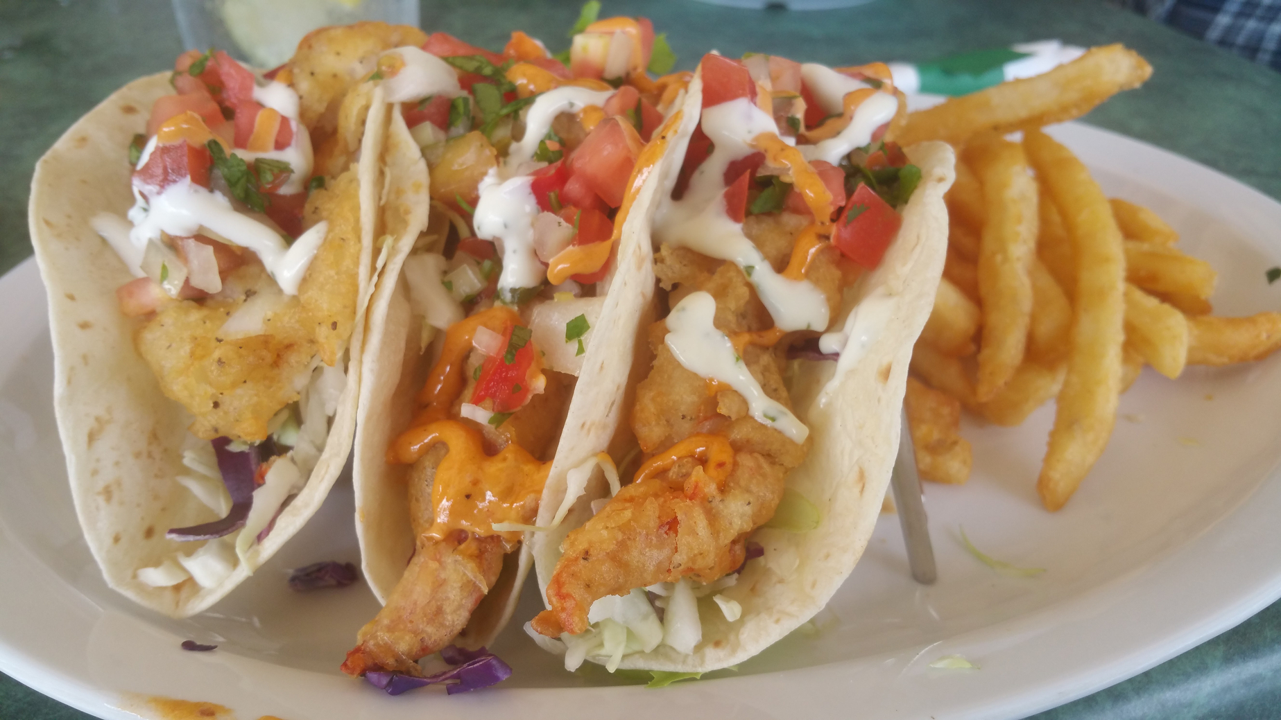 Fried lobster tacos