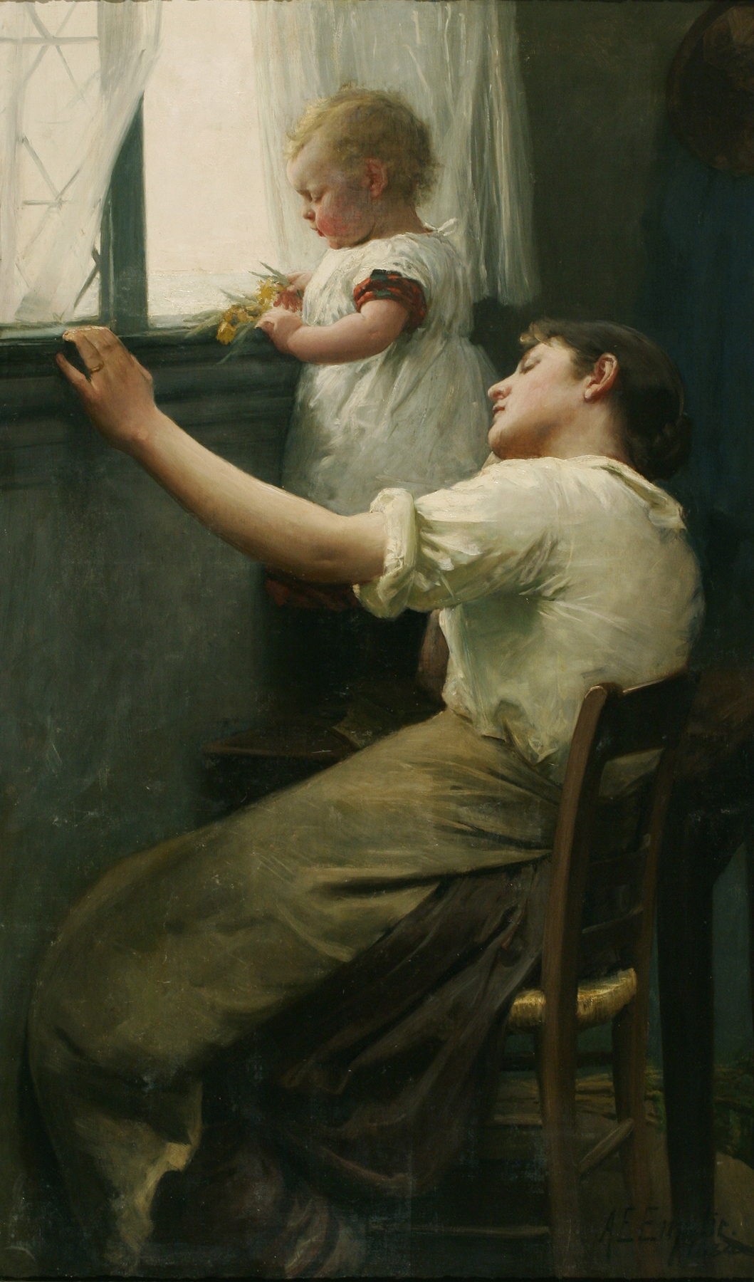 Alfred Emslie, Untitled (Mother and Child at Window), 1884. Heckscher Museum of Art; Gift of Theresa A. Cwierzyk and Sidney Gordon.
