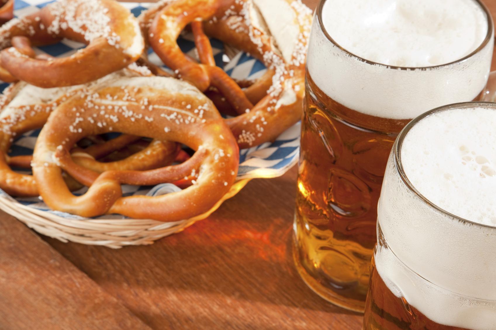 Oktoberfest Beer Mug and pretzel