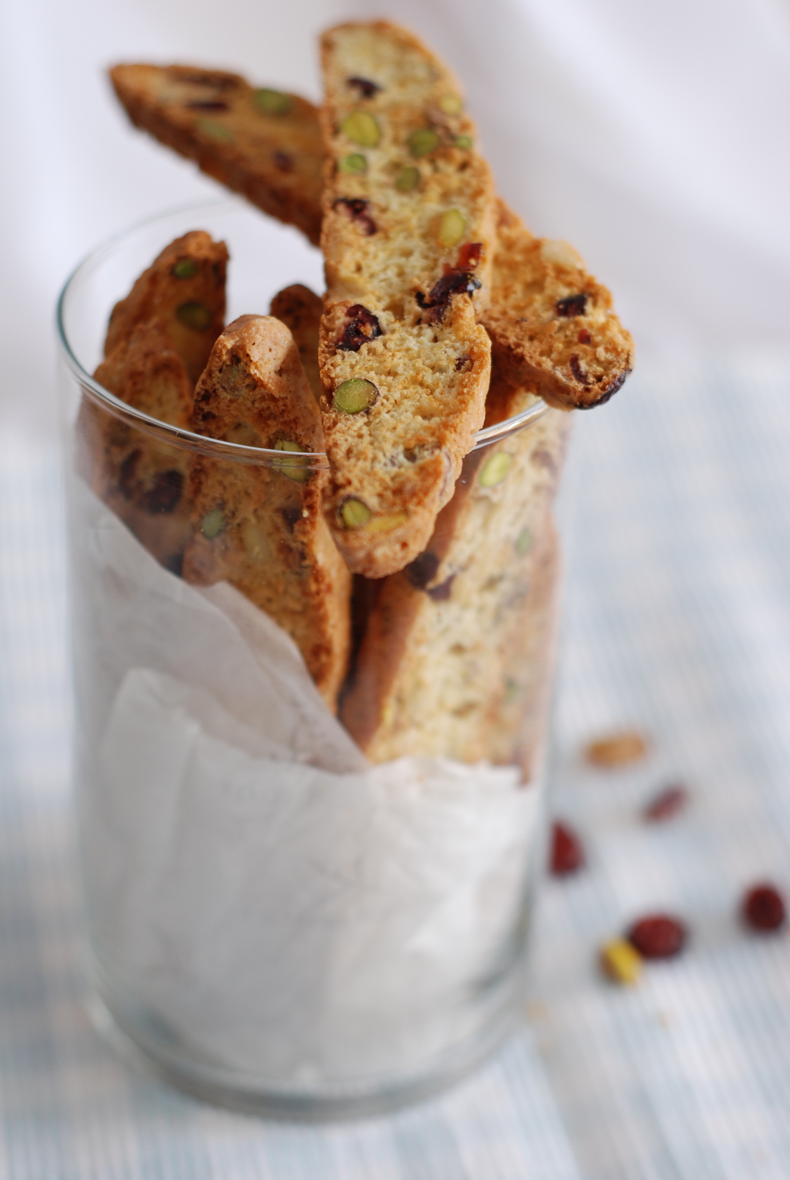 Pistachios, pine nuts and dried cranberries biscotti