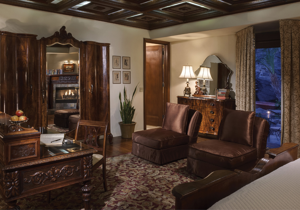 The Willows' Library Room boasts a coffered ceiling and hand carved fireplace