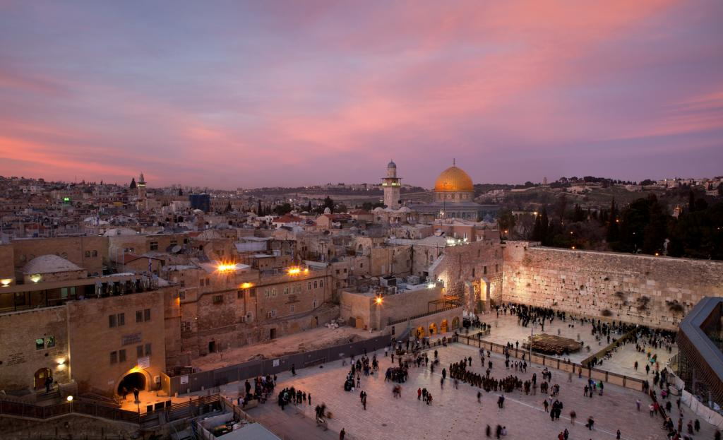 Wailing Wall Beneath the Dome of the Rock at sunset.