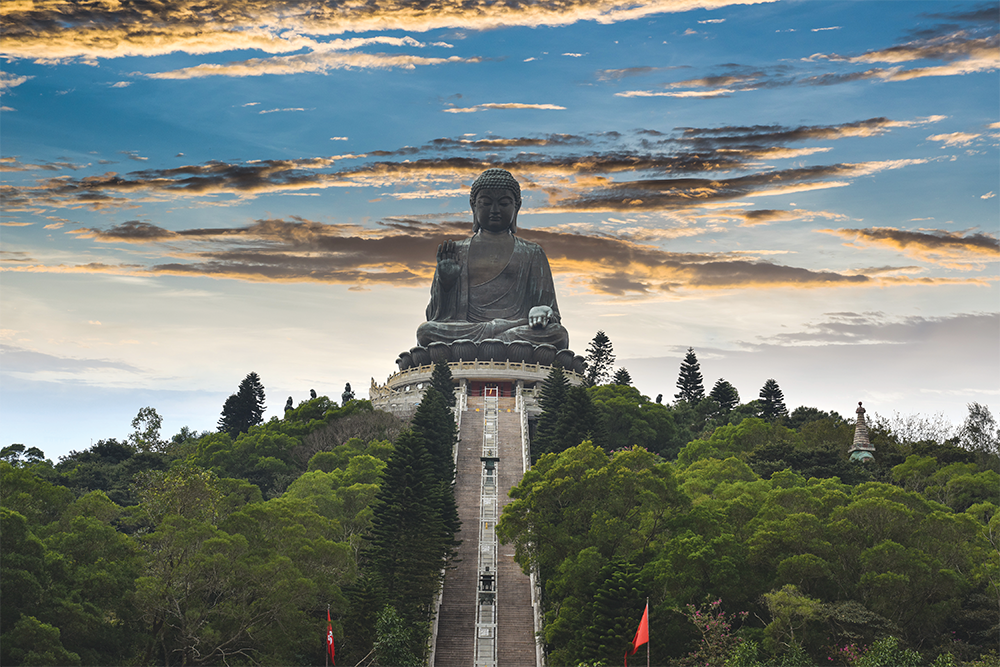 The Big Budda statue is located at the remote Po Len Monastery.