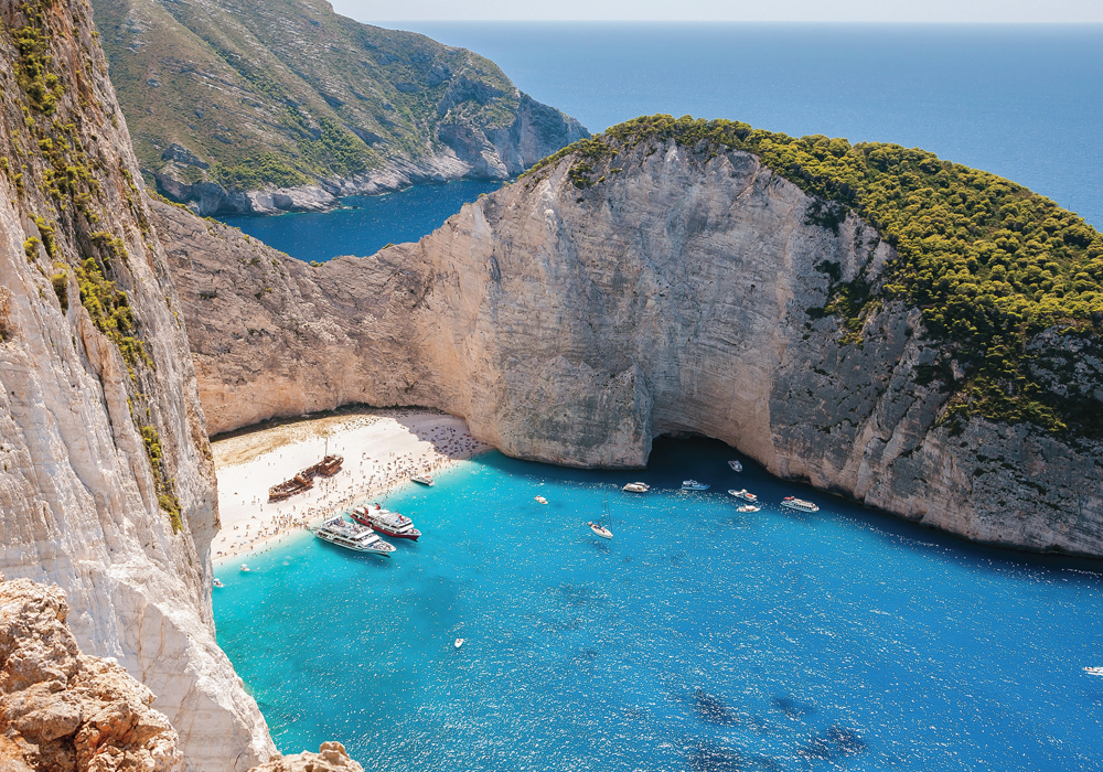 The ultra-exclusive Navagio Beach is only accessible by boat.