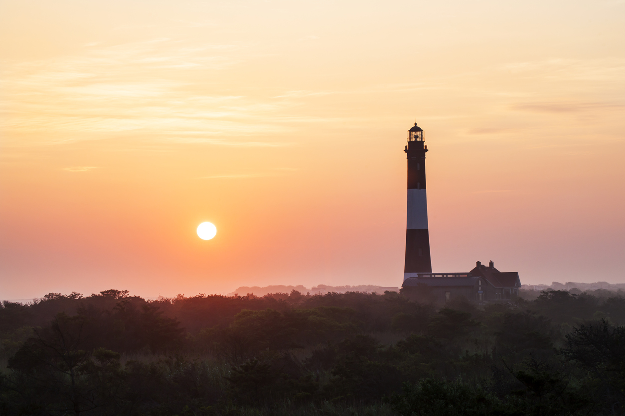 Hazy Sunrise at the Fire Island Lighthouse.