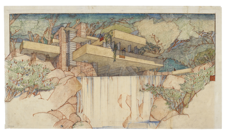 A rendering of Fallingwater with a Japanese aesthetic on display in the exhibit's central room. image: The Frank Lloyd Wright Foundation Archives, The Museum of Modern Art, Avery Architectural & Fine Arts Library, Columbia University, New York