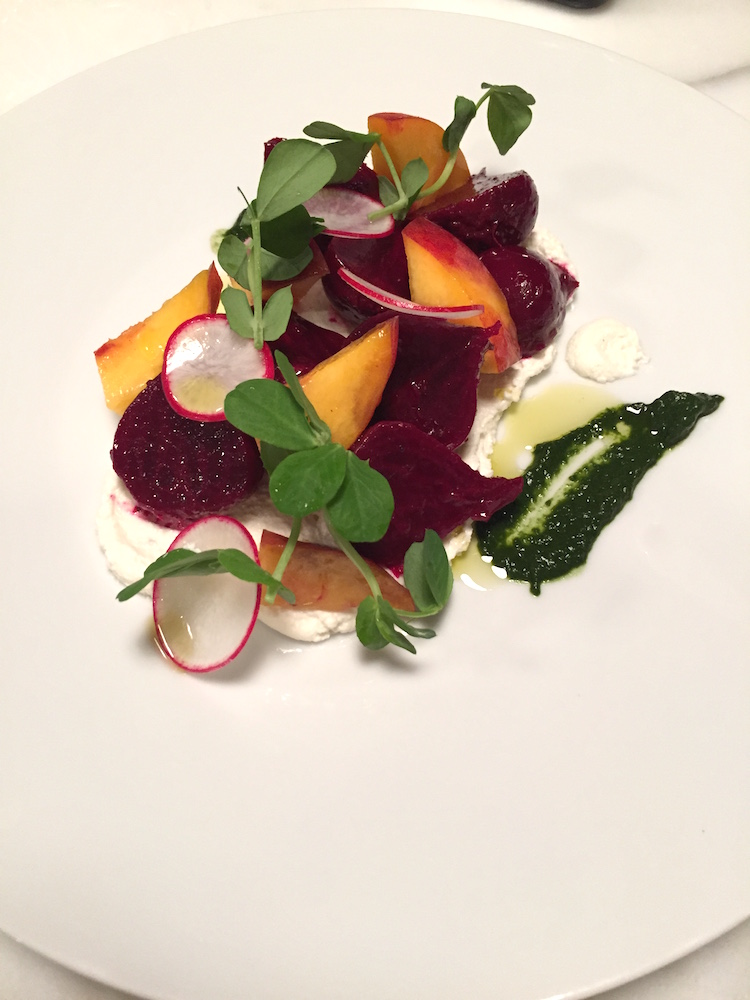 Beet salad with peaches and smoked ricotta. image: peter mistretta