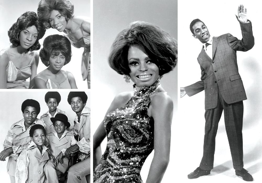 Top L to R: Martha and the Vandelias, The Jackson 5, Diana Ross and Barrett Strong