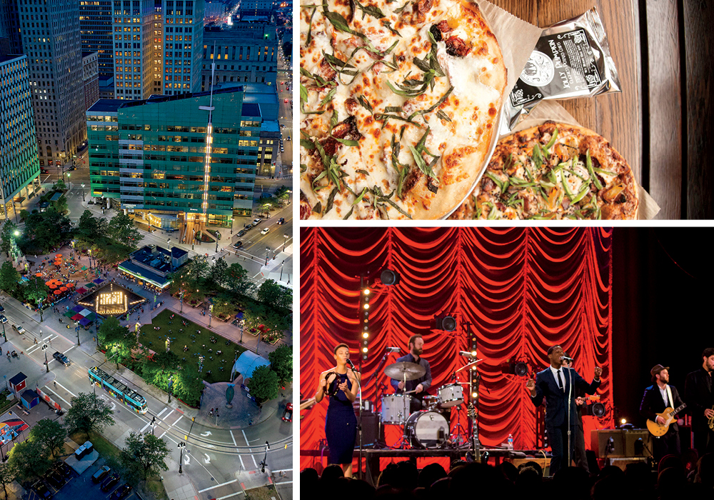 L to R: Campus Martius Park (image: Downtown Detroit Partnership), Jolly Pumpkin and Leon Bridges at the Majestic Theatre