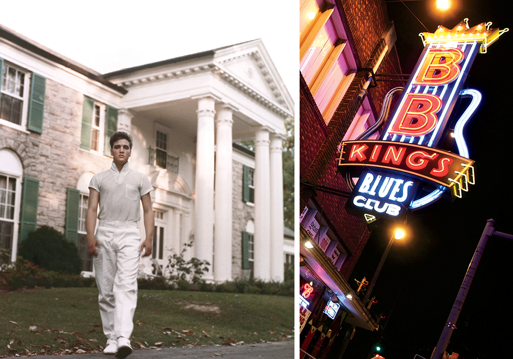 L: Elvis Presley strolls the grounds of his Graceland estate in 1957. R: BB King's Blues Club
