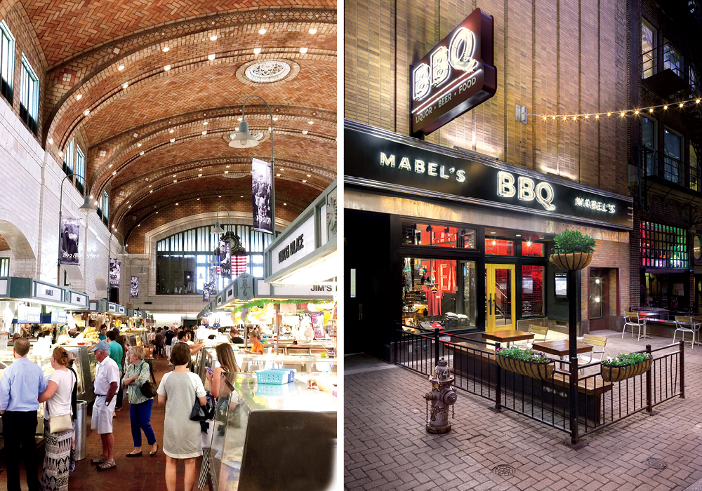 L to R: West Side Market, Mabel's BBQ (image: mark steele, richardson design) and Velvet Tango Room
