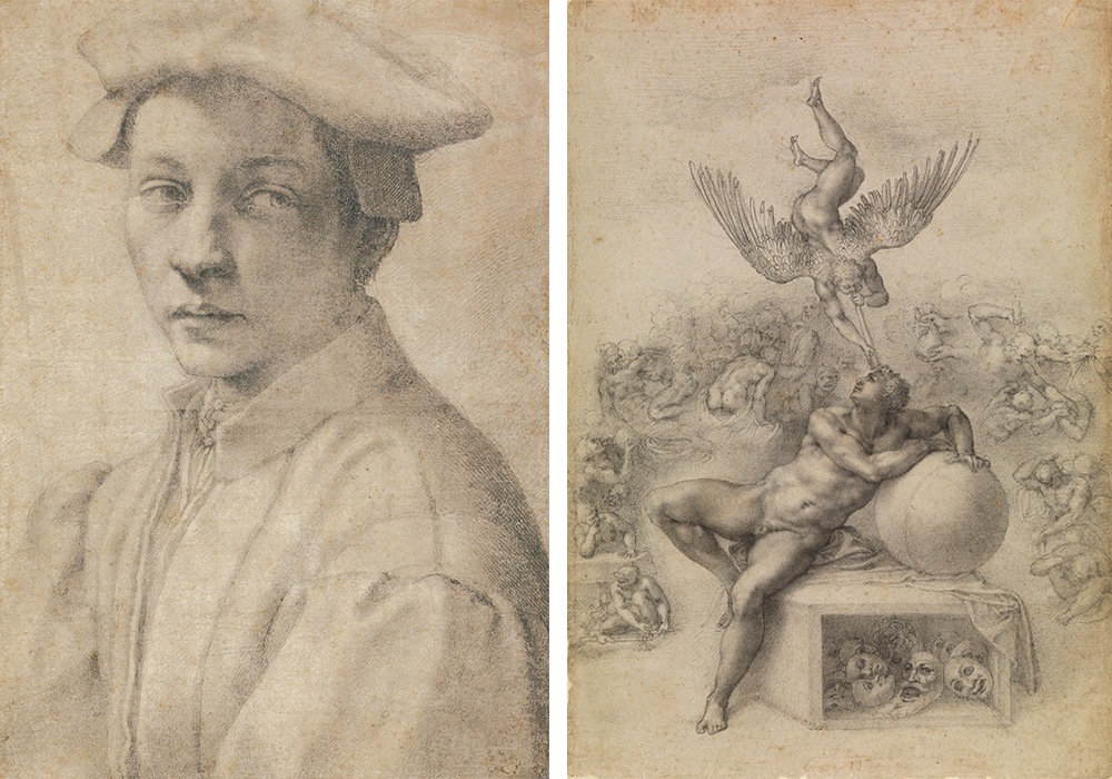 "(L-R) ""Portrait of Andrea Quaratesi,"" 1532 Michelangelo Buonarroti Drawing, black chalk 16 3/16 x 11 1/2 in. The British Museum, London 