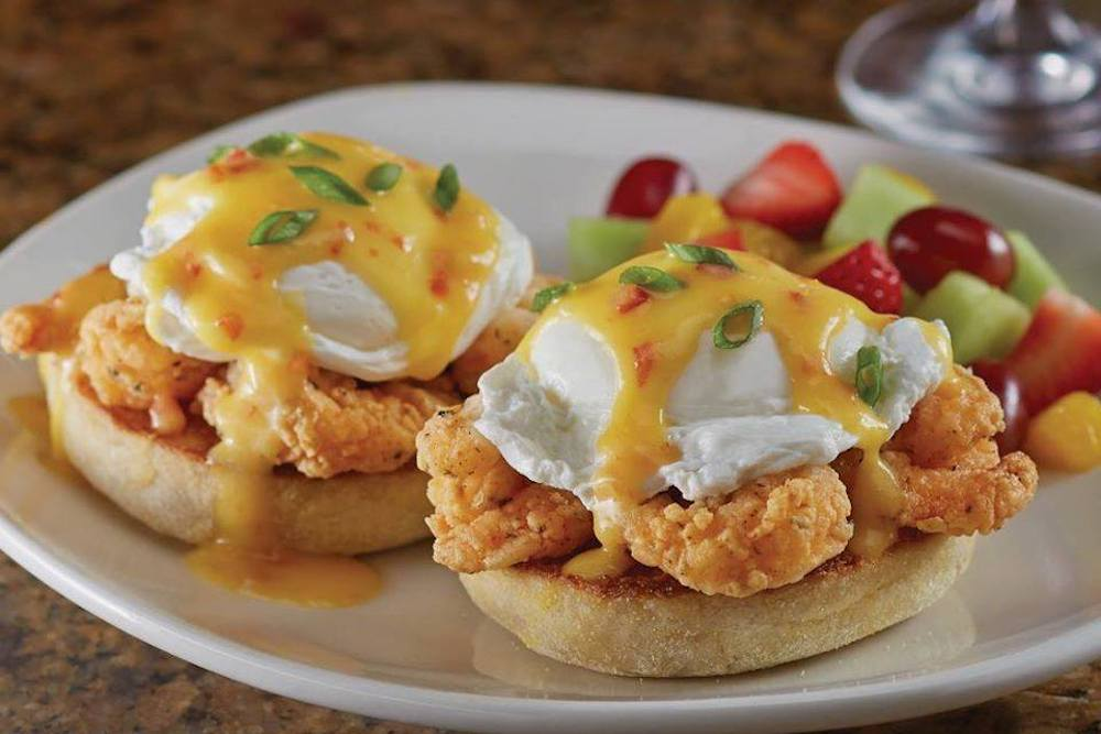 Brunch Bang Bang Shrimp Eggs Benedict