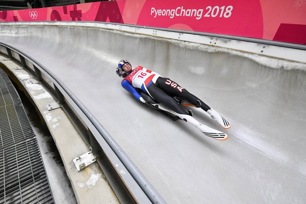 Justin Krewson and Jayson Terdiman as they compete in doubles luge. image: twitter.com/ksdknews