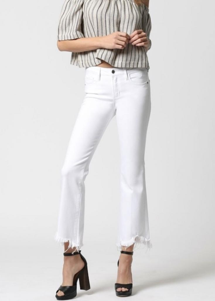 """I am loving this pair of cropped flares from the brand Hidden,"" said Erin Field, owner of Rags Boutique in Jericho. The jeans are available at her store."