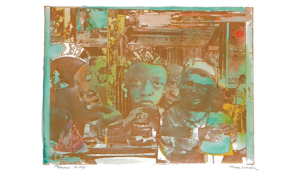 """The Train,"" 1974 Aquatint, etching and photoengraving with handcoloring 17 3/4 x 23 1/2 in."