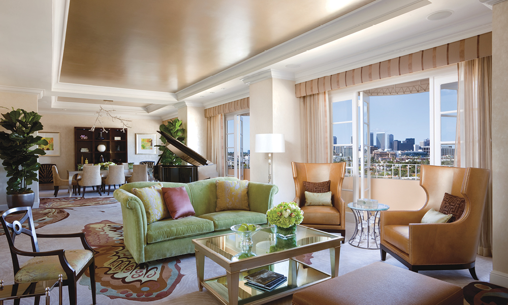 The Presidential Suite at the Four Seasons Los Angeles at Beverly Hills is a paragon of Hollywood décor.