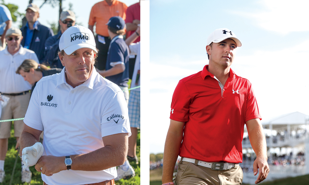 Left: Phil Michelson has won every Major except the U.S. Open. He will look to change that this month. || Right: Texas native Jordan Spieth won the 2015 U.S. Open and looks to repeat that performance at Shinnecock.
